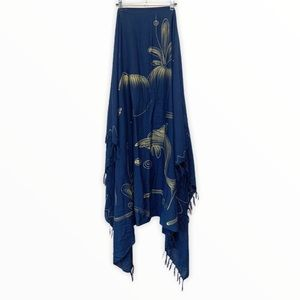 Rare Find Rayon Navy Blue Printed Wrap